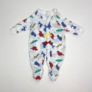 Vintage Dinosaur Print Bow Footie Baby Girl Small
